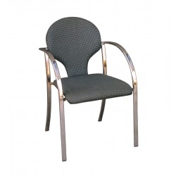 CHAIR- GREY CANVAS UPHOLSTERED