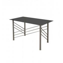 TABLE-DESK INOX 125 CM GLASS